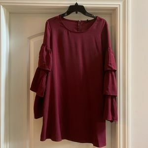 Lucca Couture Burgundy Ruffle sleeve dress, NWT, M